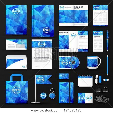Corporate identity template set. Business stationery mock-up with triangular background and logo. Branding design.