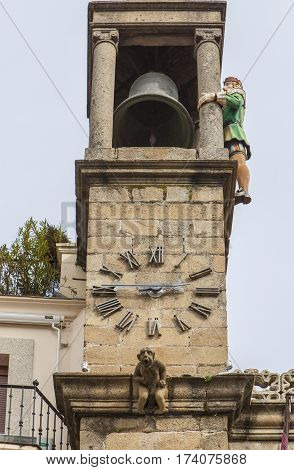 Plasencia City Hall building clock tower with Abuelo Mayorga. The Mayorga Grandfather is a statue that strikes each half hour from tower since 1523 Caceres Spain