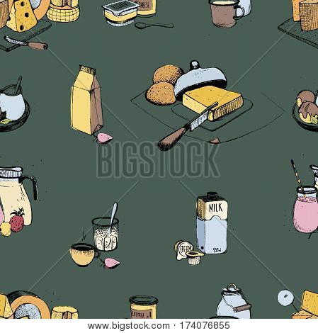 Dairy products hand drawn seamless pattern. Vector colorful illustration on green background. Milky farming assortment.