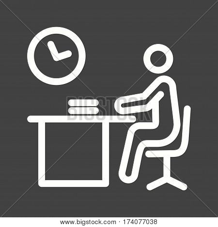 Late, working, night icon vector image. Can also be used for city lifestyle. Suitable for web apps, mobile apps and print media.