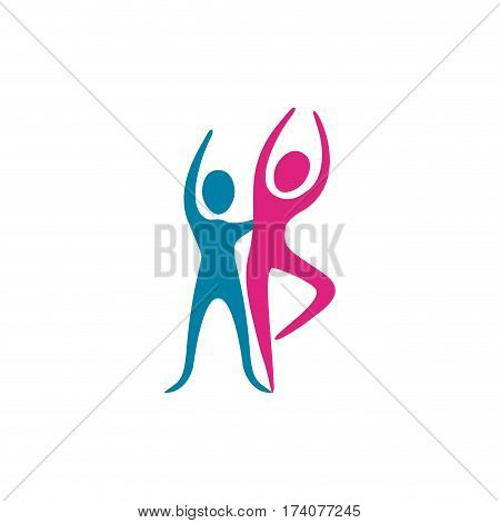 color people couple dancing icon, vector illustraction design