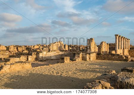 Paphos Archaeological Park In The Light Of The Evening Sun, Cyprus