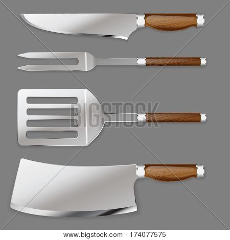 Set of kitchen tools for cutting foods and cooking on a grill in a realistic style for use as logos on cards in printing posters invitations web design and other purposes.