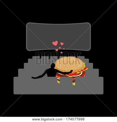 Lover Fast Food. Man And Hamburger In Movie Theater. Guy And Burger. Lovers Watching Cinema. Romanti