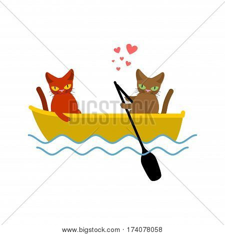 Cat Lovers Ride In Boat. Lover Of Sailing. Pet Romantic Date. Cats Lifestyle