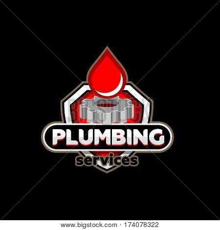 Plumbing service logo icon badge emblem template vector