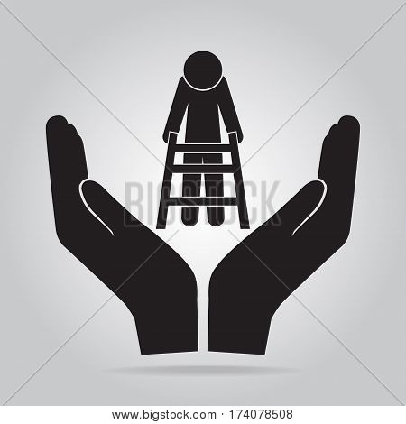 Elderly man and walker in hand icon voice sign. protection care concept