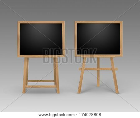 Vector Set of Wooden Easels with Mock Up Empty Blank Square Black Boards Isolated on Background