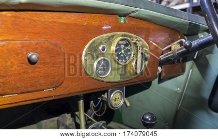 Vintage 1930 Mg M-type Sports Car Dashboard