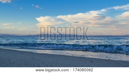 Calm sea in the early morning. Greece Halkidiki Kassandra