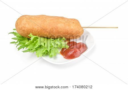Corn dog with mustard isolated on white background