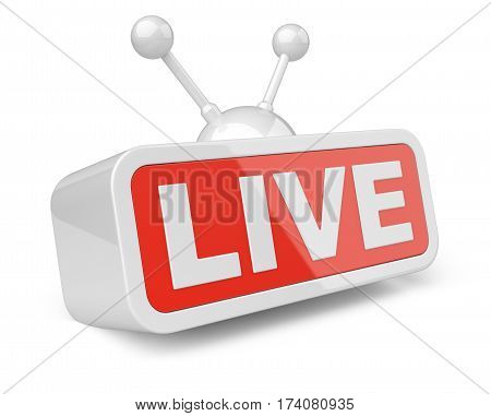 Live TV - white with red sign. Isolated on white background 3d illustration.