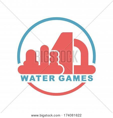 Water Games Logo. Emblem For Inflatable Park Attraction