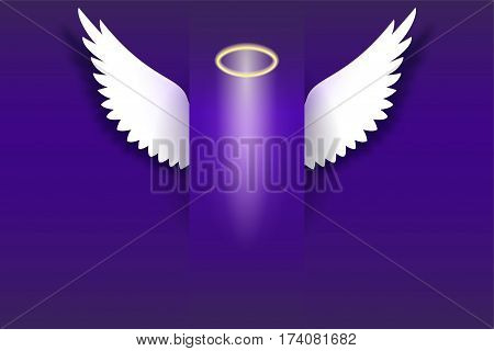 Angel wings with golden halo hovering in the dark. Wings and golden halo. Card with white angelic wings with place for your text