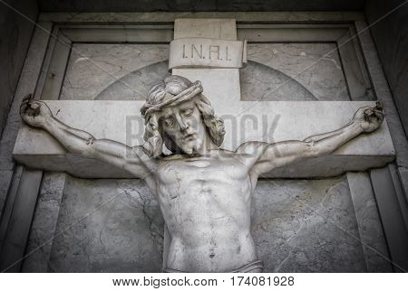 The suffering of Jesus Christ (statue fragment religion).