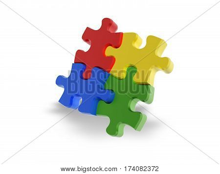 Multi-coloured puzzle (red yellow blue green) isolated on white background