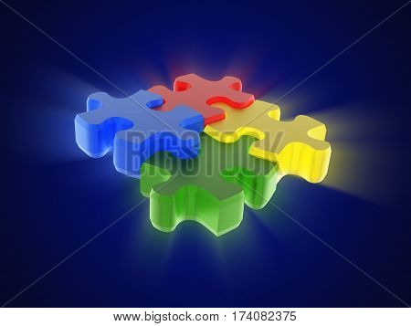 Glowing multi-coloured puzzle (red yellow blue green) on blue background