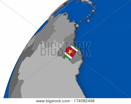 Suriname With Flag On Political Globe