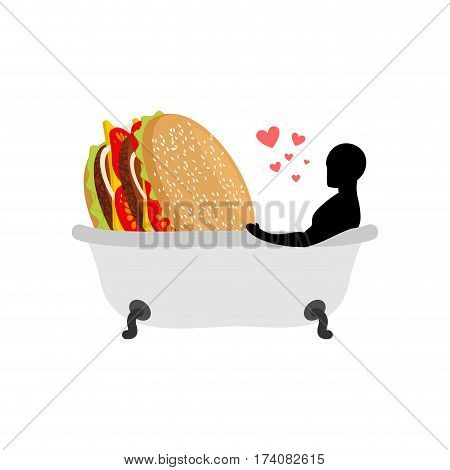 Lover Fast Food. Man And Hamburger In Bath. Guy And Burger. Joint Bathing. Passion Feelings Among Lo