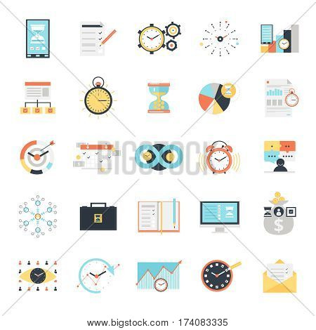 Time management icons set with charts analysis and optimization goals and priorities computer technologies isolated vector illustration