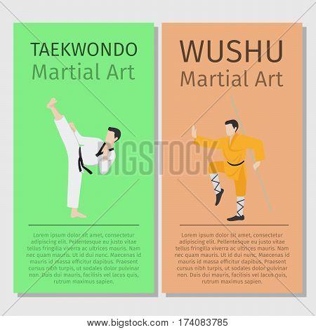 Asian martial arts vector flyers set. Taekwondo and Wushu illustration