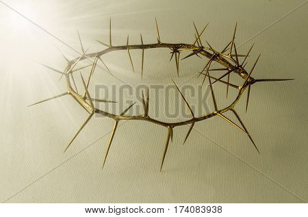 Crown of thorns - Gold crown of thorns isolated on white background - Conceptual image Jesus Christ crucifixion