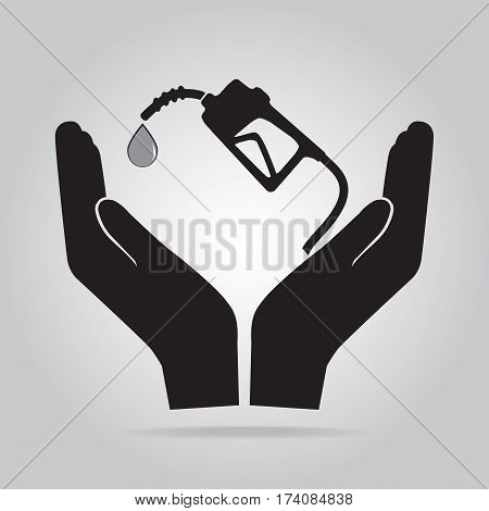Gasoline pump in hand icon. Protection or safety care concept