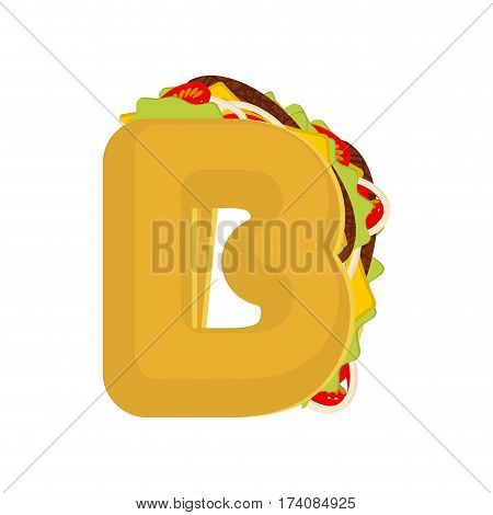 Letter B Tacos. Mexican Fast Food Font. Taco Alphabet Symbol. Mexico Meal Abc