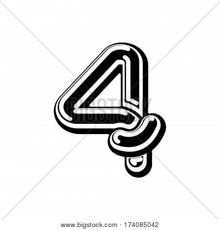 Number 4 Celtic Font. Norse Medieval Ornament Abc Sign Four. Traditional Ancient Manuscripts Alphabe