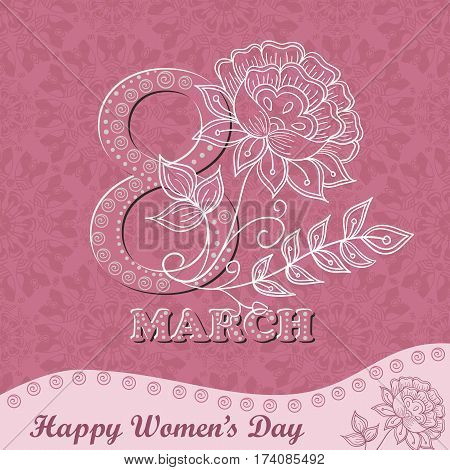 Vector greeting card or banner for 8 march. Happy Women's Day. Design for international women's day