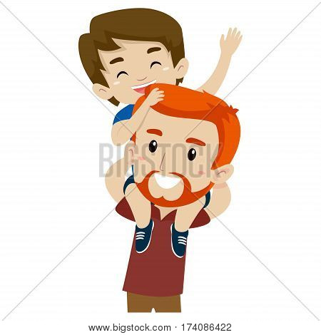 Illustration of Father and Son doing Piggy Back Ride