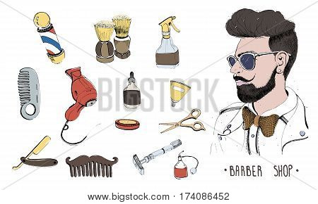 Hand drawn barbershop set. Colorful vector illustration on white background. Collection accessories: comb, razor, shaving brush, scissors, hairdryer, barber's pole and bottle spray.