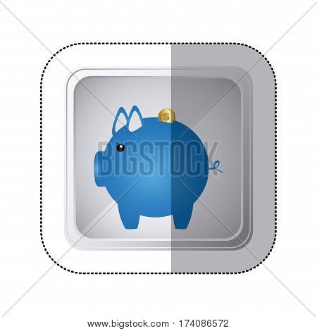 sticker silver square button with blue piggy bank with dollar coin vector illustration
