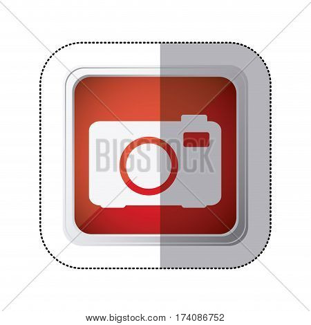 sticker red square button with silhouette analog camera vector illustration