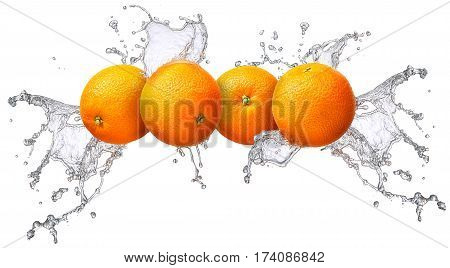 Water splash and fruits isolated on white backgroud. Fresh orange