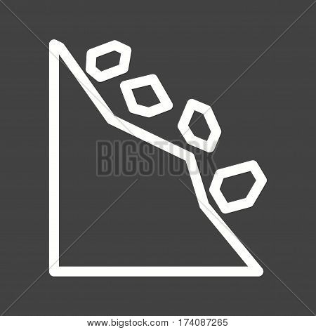 Landslide, road, danger icon vector image. Can also be used for disasters. Suitable for mobile apps, web apps and print media.