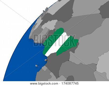 Nigeria With Flag On Political Globe