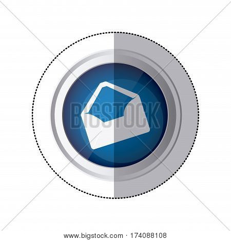 sticker blue circular button with silhouette envelopes opened vector illustration