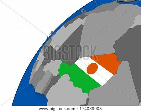 Niger With Flag On Political Globe