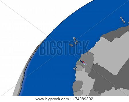 Gambia With Flag On Political Globe