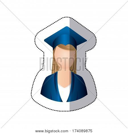 sticker colorful half body woman with graduation outfit vector illustration