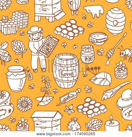 Vector honey element doodle seamless pattern with beehive, beekeeper, flowers, pollen, bee, hive and ready product. Outline cute cartoon illustration