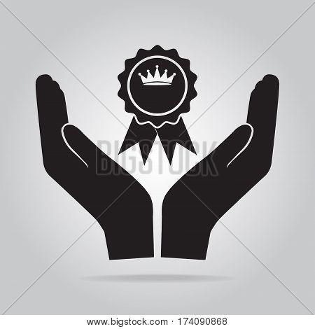 Award in hand icon recommend appreciate concept