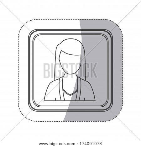 sticker monochorme silhouette square button with faceless executive woman vector illustration