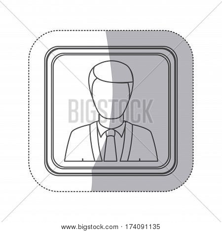 sticker monochorme silhouette square button with with faceless executive man vector illustration