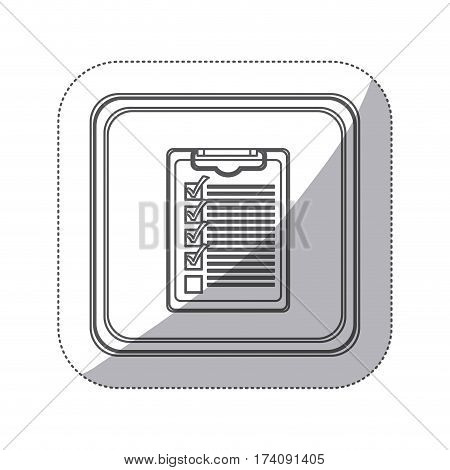 sticker monochrome silhouette square button with table notepad with check list vector illustration