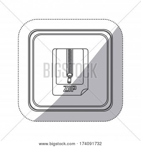 sticker monochrome silhouette square button with sheet with zip vector illustration
