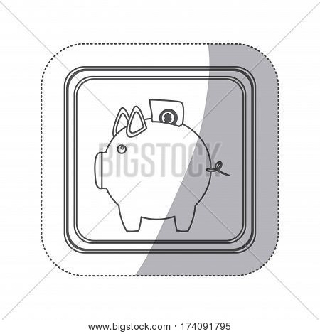 sticker monochrome silhouette square button with piggy bank with dollar coin vector illustration