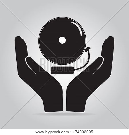 Alarm bell in hand icon warning sign. Protect concept