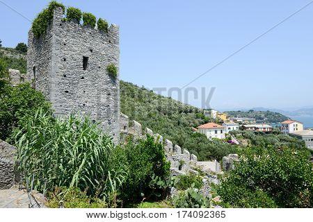Portovenere Italy - 7 July 2015: The castle of Portovenere on Italy